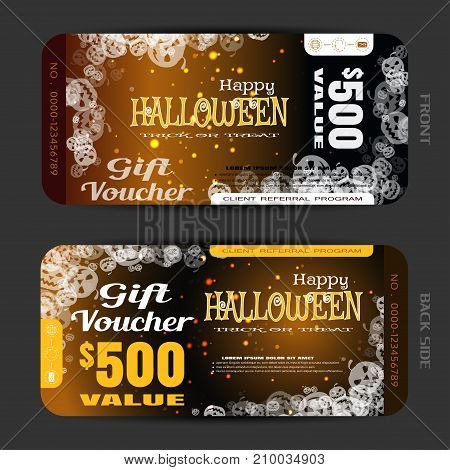 Vector gift voucher to Halloween with group of transparent pumpkins stripes text sparkles on the gradient dark brown background.