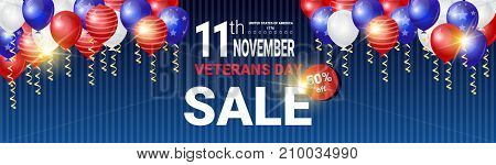 Horizontal Poster With Sale For Veteran Day Message On Shiny White, Blue And Red Balloons Background, Usa National Holiday Discounts Banner Vector Illustration