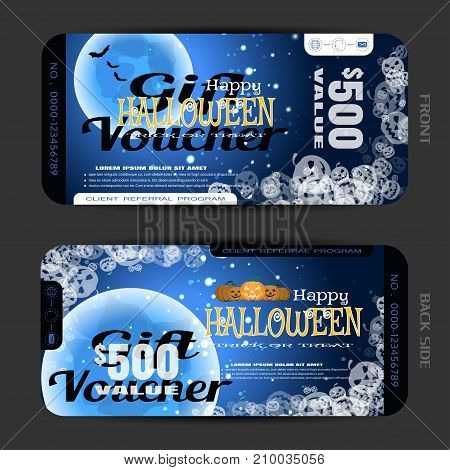 Vector blank of gift voucher to Halloween with groups of full blue moon flock of bats transparent pumpkins text sparkles on the gradient dark brown background.
