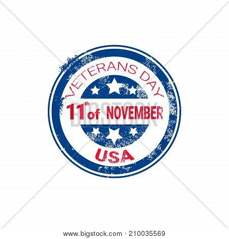 Veteran Day Grunge Rubber Stamp On White Background, Usa Holiday Retro Badge Vector Illustration