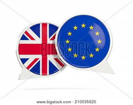Chat Bubbles Of Uk And Eu Isolated On White