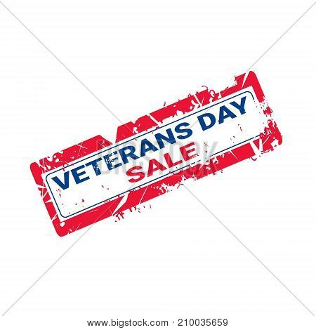 Grunge Rubber Stamp With Veteran Day Sale Text On White Background Vector Illustration