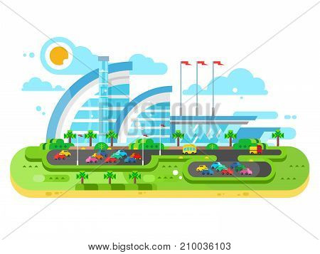 Shopping center mall building and parking. Big store business retail market for shopping, vector illustration