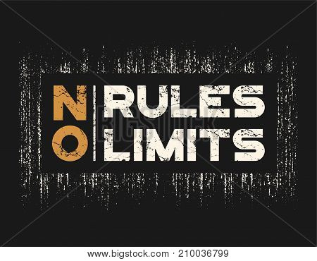 No rules no limits t-shirt and apparel design with grunge effect and textured lettering. Vector print, typography, poster, emblem. poster