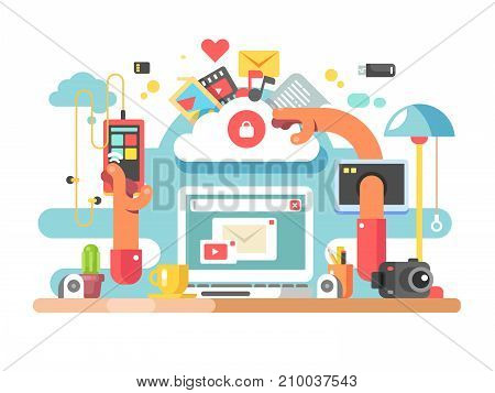 Office documents workflow. Process web management and business corporate process flow on workplace Vector illustration