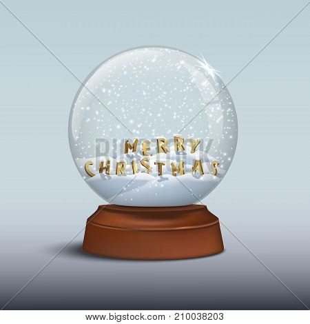 Snow globe with Merry Christmas signs. MERRY CHRISTMAS letters inside snow globe on brown wooden base. Vector Christmas and New Year design element