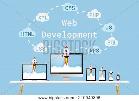 Web development concept. start up project on all devices.