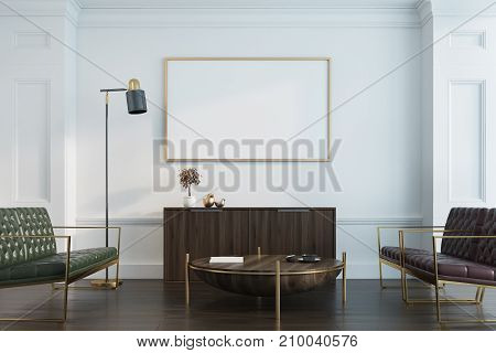 White Living Room, Sofas And Poster