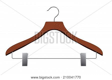 Isolated realistic vector hanger with clips on white background.