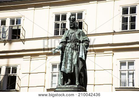 Czechia People And Foreigner Travelers Karel Iv. Monument Or Statue Of Charles Iv. For Visit Near Th