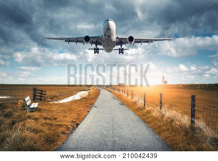 Airplane and rural road. Landscape with passenger airplane is flying over the asphalt road against cloudy sky, yellow grass. Journey. Passenger aircraft is landing on the runway. Commercial plane