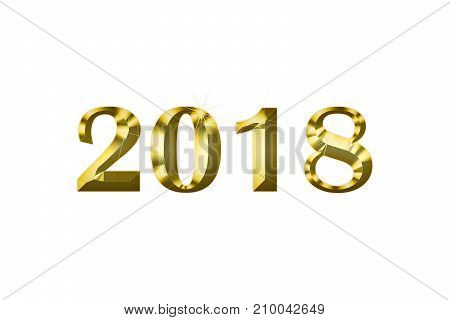 gold figures 2018 on a white background