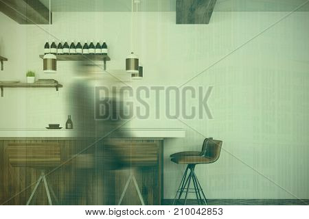 White And Wooden Bar Interior Toned