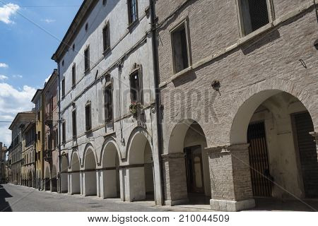 Fossombrone (Pesaro Urbino Marches italy): old typical street