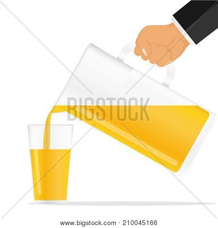 The hand pours the juice from the jug. Pour the orange juice into a glass. Flat design, vector illustration, vector.