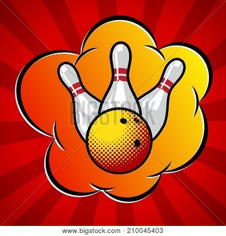 Vector pop art bowling illustration, bowling ball and pins.