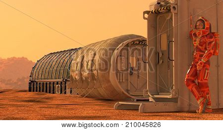 3D Illustration. Mars colony. Expedition on alien planet. Life on Mars.