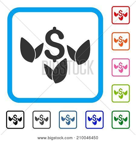Agriculture Startup icon. Flat gray pictogram symbol inside a light blue rounded rectangular frame. Black, gray, green, blue, red, orange color versions of Agriculture Startup vector.