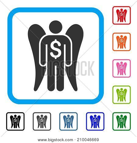 Angel Investor icon. Flat grey iconic symbol in a light blue rounded rectangular frame. Black, gray, green, blue, red, orange color variants of Angel Investor vector.