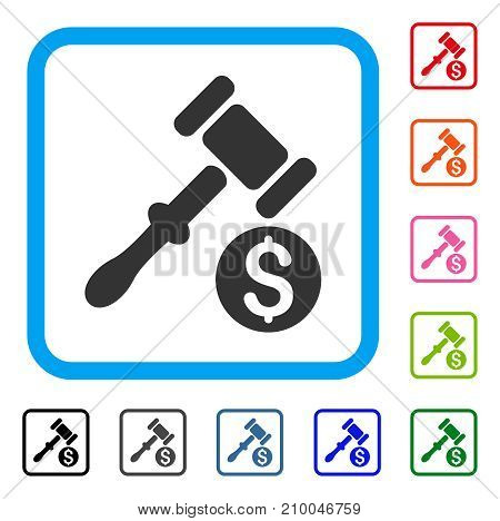 Auction icon. Flat grey pictogram symbol inside a light blue rounded square. Black, gray, green, blue, red, orange color versions of Auction vector. Designed for web and application user interface.