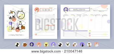 Cover Organizer and Schedule with Notes and To Do List. The template is decorated with icons and drawings of dog breeds. Dog symbol of the New Year 2018 Chinese calendar. Vector art. Isolated