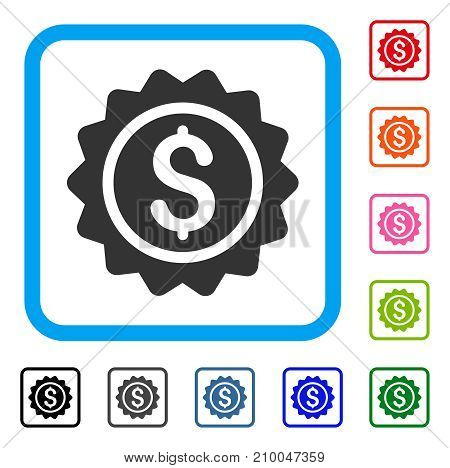 Banking Stamp icon. Flat grey iconic symbol in a light blue rounded rectangular frame. Black, gray, green, blue, red, orange color variants of Banking Stamp vector.