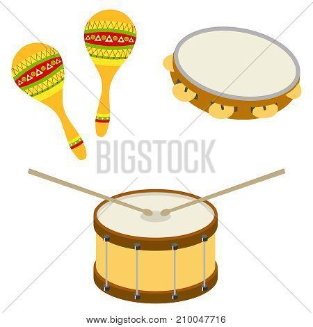 Drum, tambourine, maracas. Musical percussion instruments. Flat design, vector illustration, vector.