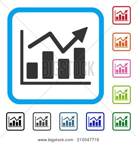 Bar Chart Trend icon. Flat grey iconic symbol in a light blue rounded rectangle. Black, gray, green, blue, red, orange color additional versions of Bar Chart Trend vector.
