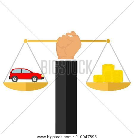 The hand holds the scales with money and a car. The car and money on the scales. Flat design, vector illustration, vector.
