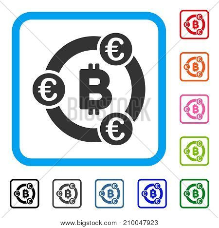 Bitcoin Euro Collaboration icon. Flat grey iconic symbol in a light blue rounded rectangle. Black, gray, green, blue, red, orange color versions of Bitcoin Euro Collaboration vector.
