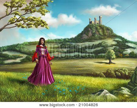 Молодая принцесса ходить в прекрасной стране пейзаж. Замок выходит на сцену из близлежащих