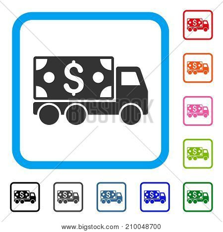 Cash Delivery icon. Flat grey iconic symbol in a light blue rounded rectangular frame. Black, gray, green, blue, red, orange color variants of Cash Delivery vector.