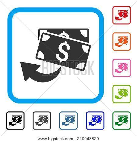 Cashback icon. Flat gray pictogram symbol in a light blue rounded rectangular frame. Black, gray, green, blue, red, orange color additional versions of Cashback vector.