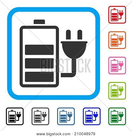 Charge Battery icon. Flat gray pictogram symbol in a light blue rounded rectangular frame. Black, gray, green, blue, red, orange color additional versions of Charge Battery vector.