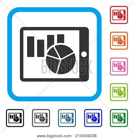 Charts On PDA icon. Flat grey pictogram symbol in a light blue rounded square. Black, gray, green, blue, red, orange color versions of Charts On PDA vector. Designed for web and app user interface.