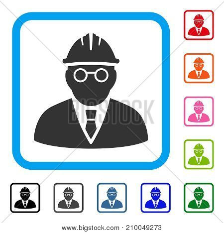 Clever Engineer icon. Flat gray pictogram symbol inside a light blue rounded squared frame. Black, gray, green, blue, red, orange color additional versions of Clever Engineer vector.