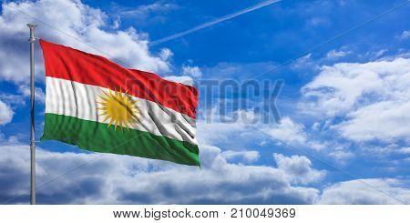 Kurdistan Flag Waves Under The Blue Sky With Many White Clouds. 3D Illustration