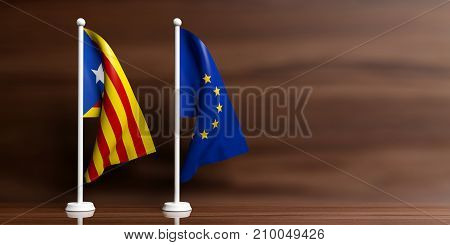 Catalonia And European Union Small Flags, Wooden Background. 3D Illustration