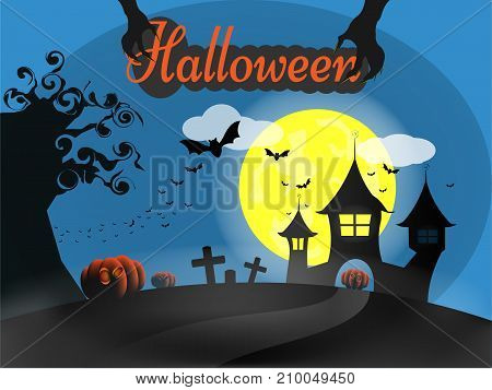 Halloween day concept, Black castle and horror bat with pumpkin on cemetery in yellow full moon background. Vector, EPS10, illustration design.