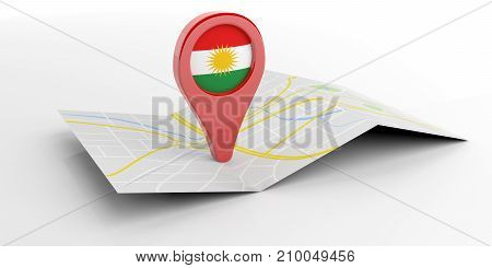 A Red Pointer With The Flag Of Kurdistan On A Map. 3D Illustration