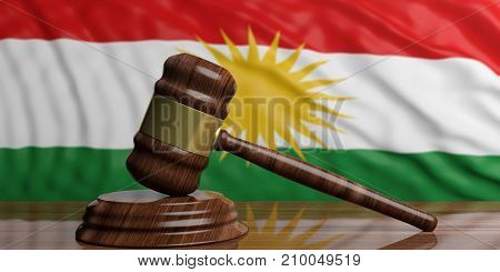 The Waving Kurdistan Flag Behind Wooden And Gold Auction Or Justice Gavel. 3D Illustration