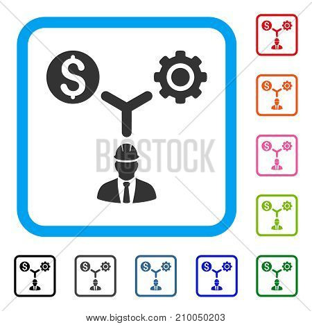 Development Relations icon. Flat grey iconic symbol in a light blue rounded square. Black, gray, green, blue, red, orange color additional versions of Development Relations vector.