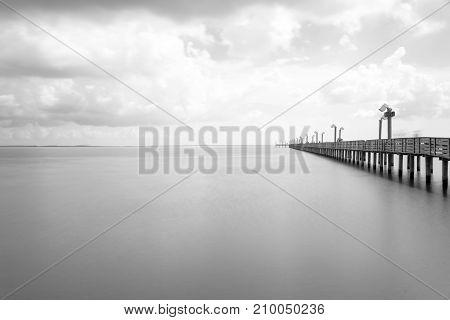 Wooden Fishing Pier In La Porter, Texas, Usa In Long Exposure, B