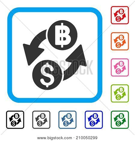 Dollar Baht Exchange icon. Flat gray pictogram symbol inside a light blue rounded squared frame. Black, gray, green, blue, red, orange color variants of Dollar Baht Exchange vector.