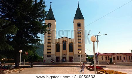 Medjugorje, Bosnia and Herzegovina - June 24, 2017: Church of St. James in Medjugorje. Medjugorje the place of the apparitions of Our Lady.