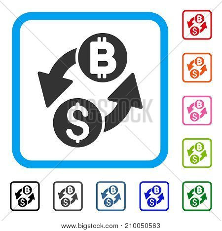 Dollar Bitcoin Exchange icon. Flat gray iconic symbol in a light blue rounded square. Black, gray, green, blue, red, orange color versions of Dollar Bitcoin Exchange vector.