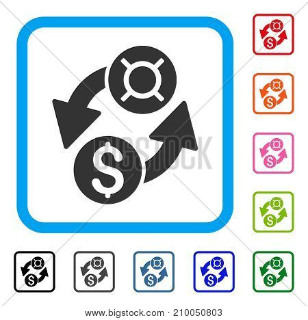 Dollar Currency Exchange icon. Flat grey pictogram symbol inside a light blue rounded frame. Black, gray, green, blue, red, orange color versions of Dollar Currency Exchange vector.