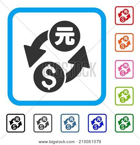 Dollar Yuan Exchange icon. Flat gray iconic symbol in a light blue rounded square. Black, gray, green, blue, red, orange color additional versions of Dollar Yuan Exchange vector.