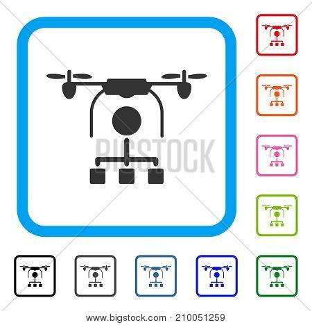 Drone Distribution icon. Flat gray pictogram symbol in a light blue rounded rectangular frame. Black, gray, green, blue, red, orange color additional versions of Drone Distribution vector.