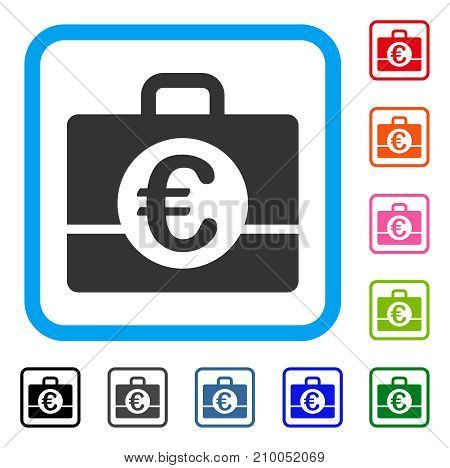 Euro Accounting icon. Flat grey pictogram symbol in a light blue rounded square. Black, gray, green, blue, red, orange color additional versions of Euro Accounting vector.
